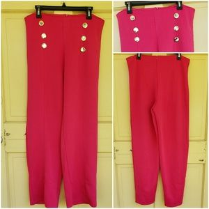 Pants - Red Sailor inspired Wide leg pants